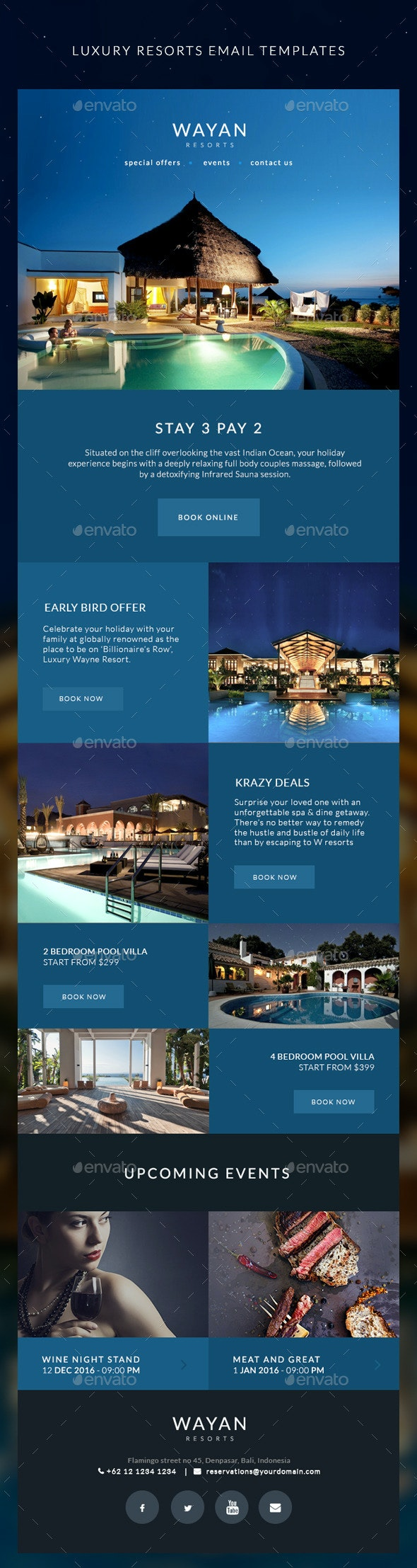 Resorts Email Templates - Wayan - E-newsletters Web Elements