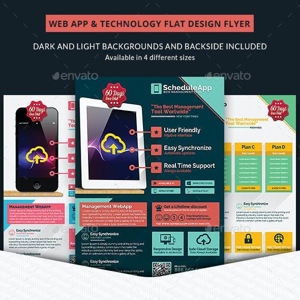 Web App & Technology Flat Design Business Flyer