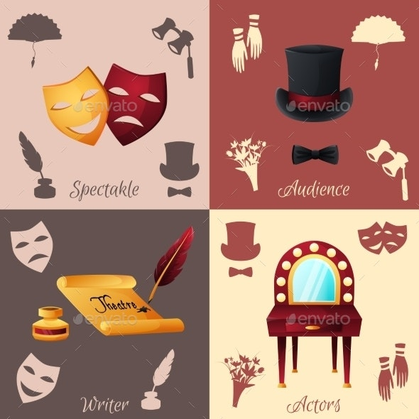 Theater Concept Set - Objects Vectors