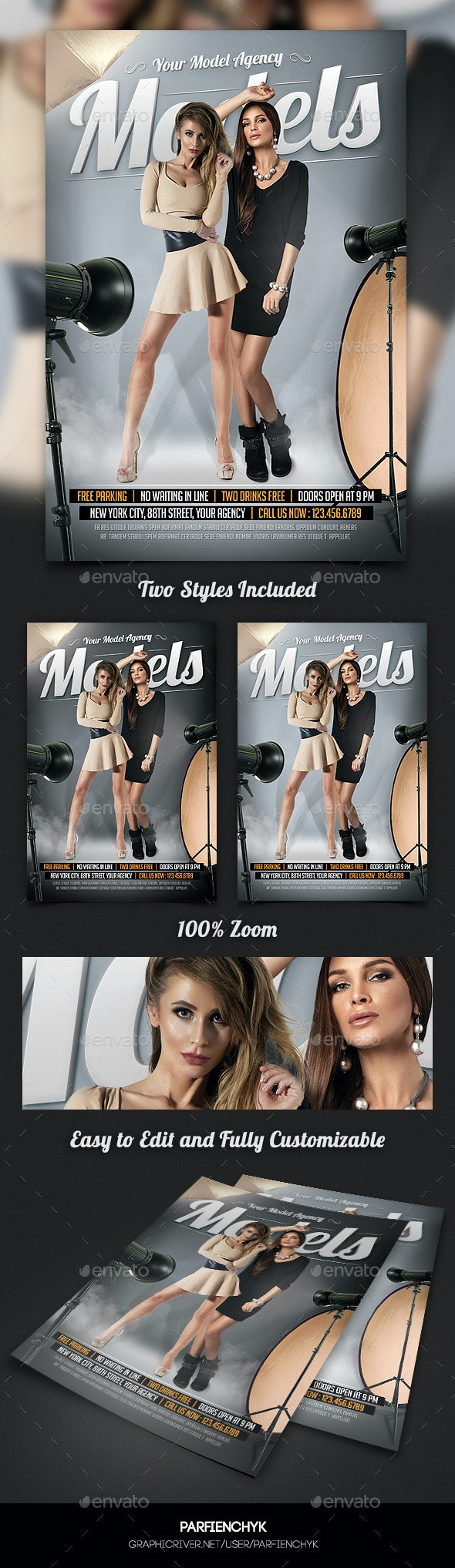 Professional Model Agency Flyer Template - Clubs & Parties Events