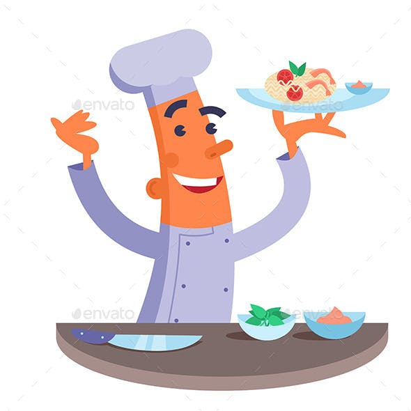 Cartoon Chef Holding Plate with Pasta and Shrimps