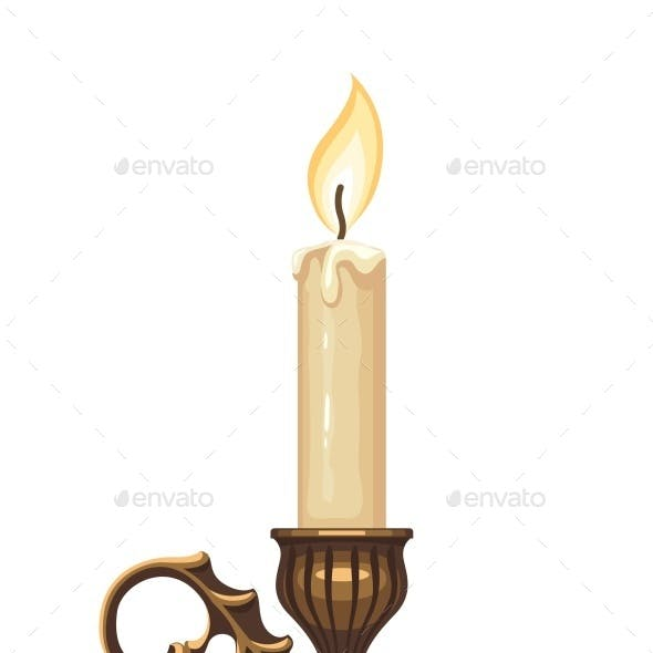 Burning Candle in Bronze Candlestick