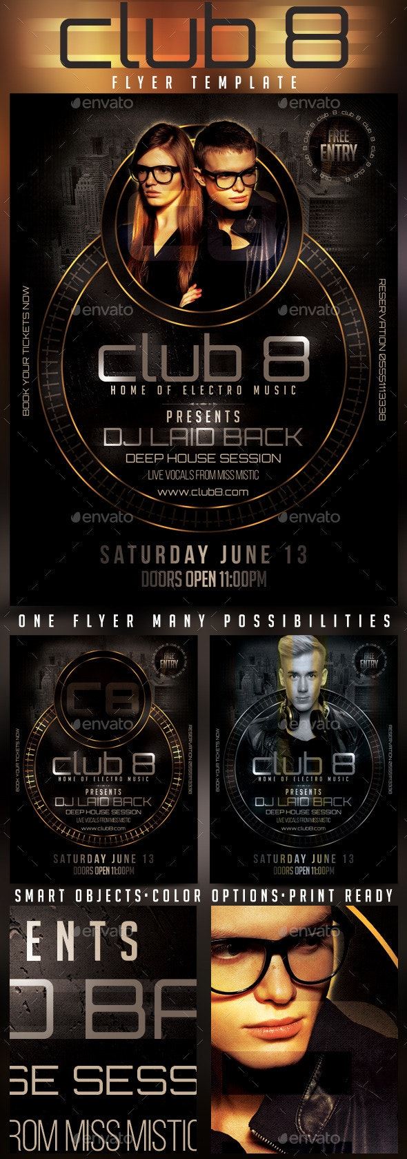 Club 8 Deep House Session Flyer Template - Clubs & Parties Events