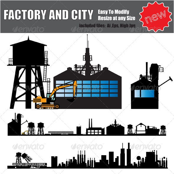 Vector Factory and City Silhouette Set