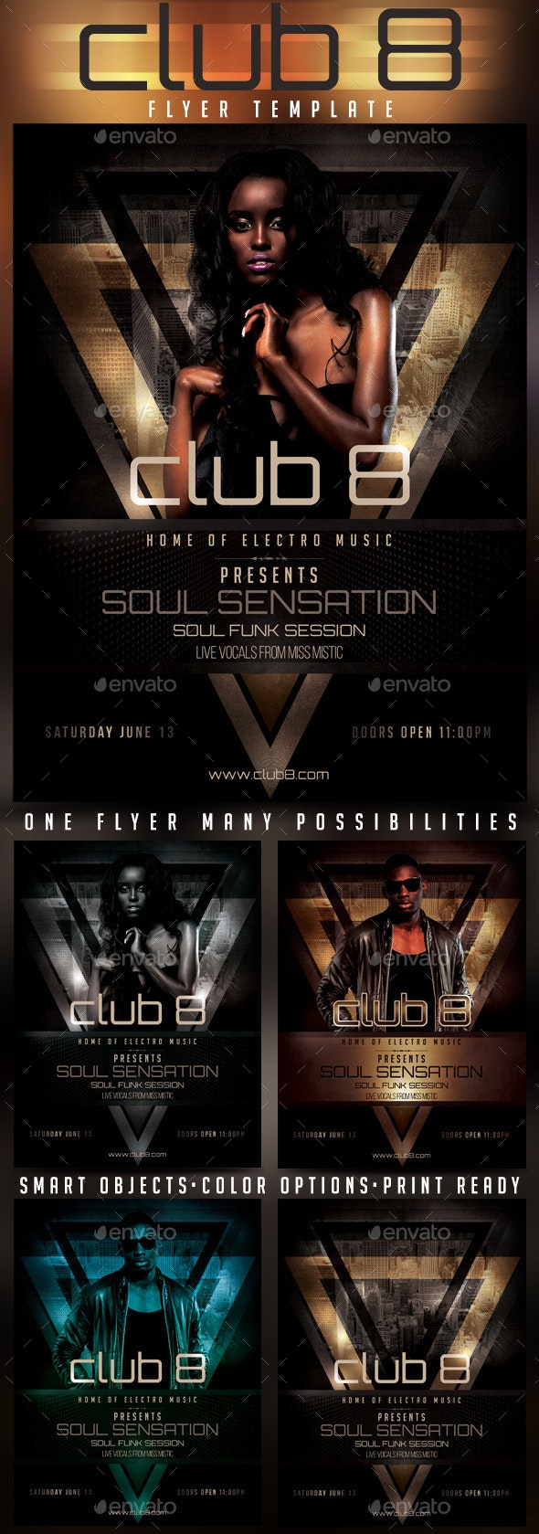 Club 8 Soul Funk Sensation Flyer Template - Clubs & Parties Events