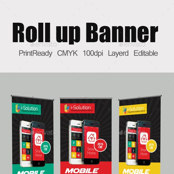 Mobile App Roll Up Banners Template