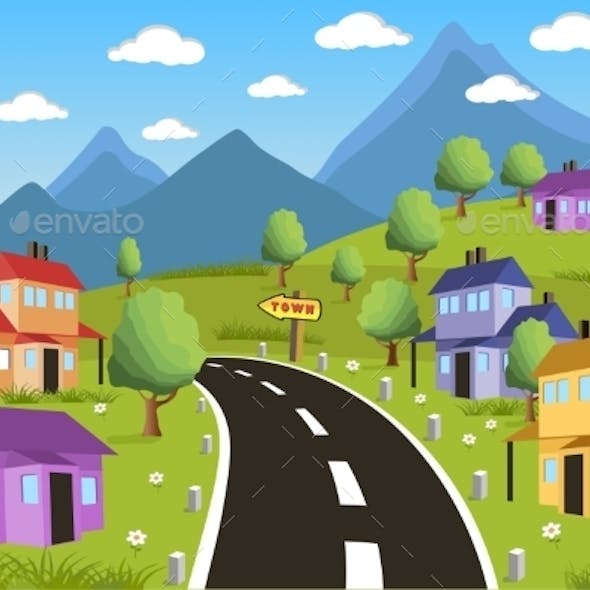 Rural Landscape with Small Town