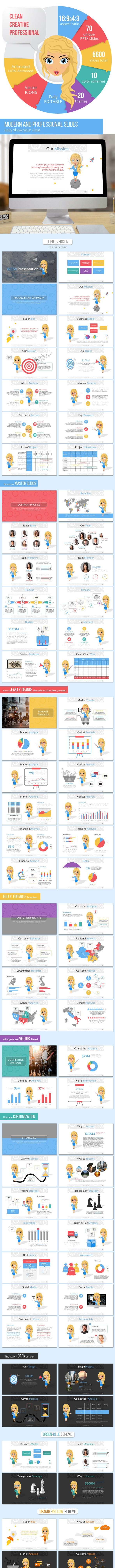 Business Plan with Ms. Jane Presentation Template - Pitch Deck PowerPoint Templates