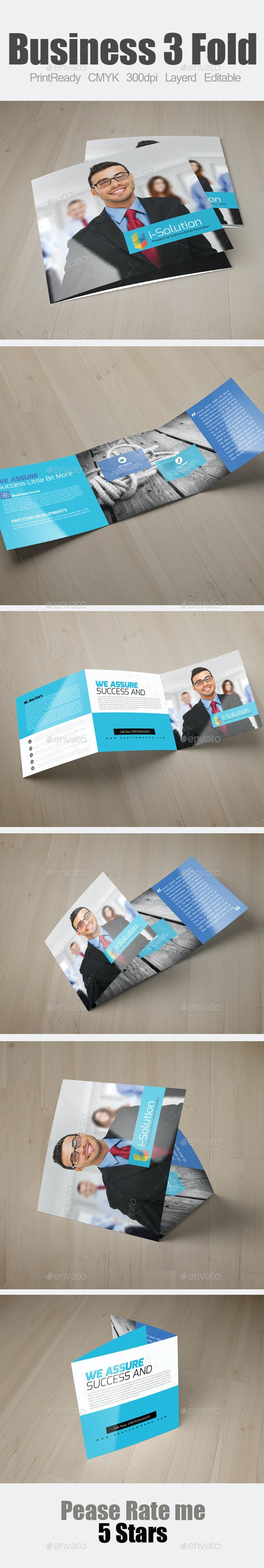 Multi Use Business Square Trifold Template - Corporate Brochures