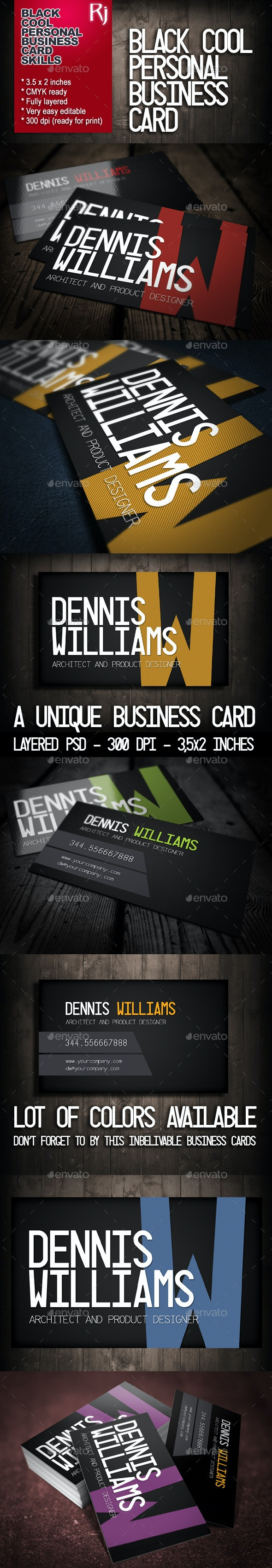 Black Cool Personal Business Card - Corporate Business Cards