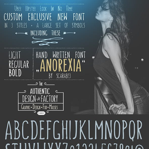 """Handwritten Font """"ANOREXIA"""""""