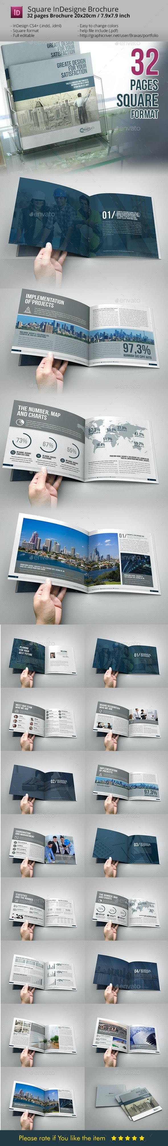 Business Brochure Square InDesign Template - Informational Brochures