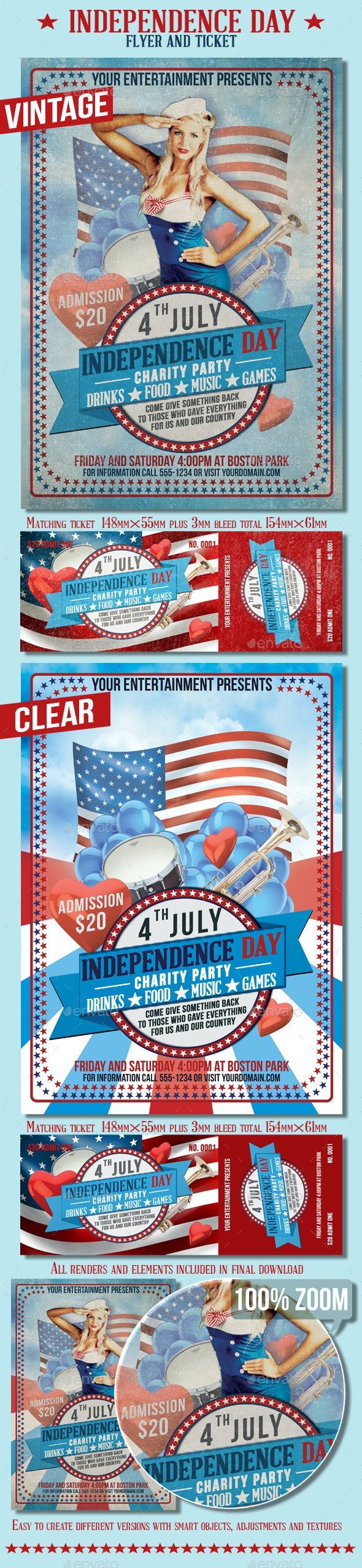 4th July Independence Day Flyer And Ticket - Events Flyers