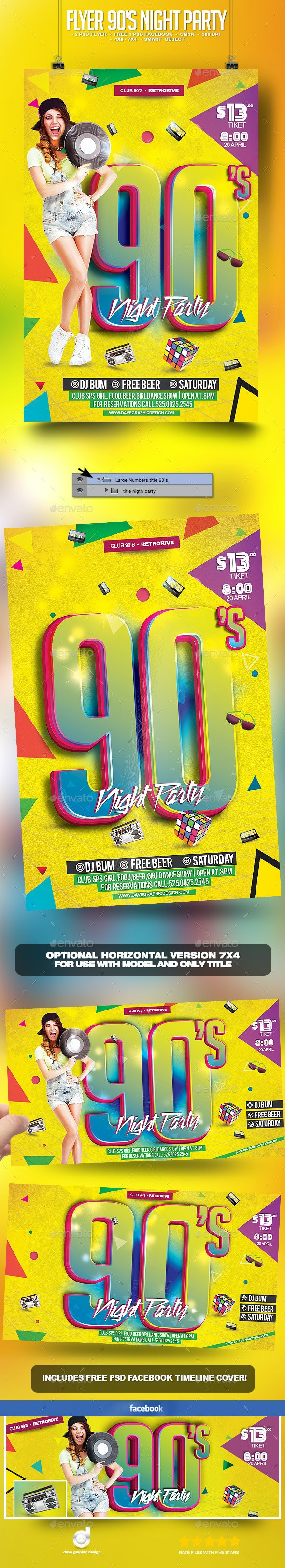 Flyer 90's Night Party - Clubs & Parties Events