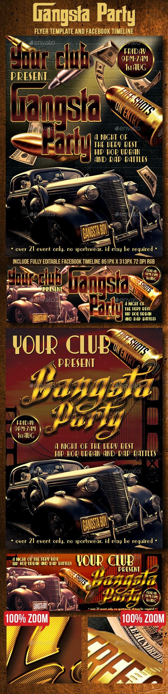 Gangsta Party Flyer, Ticket & Facebook Timeline - Events Flyers