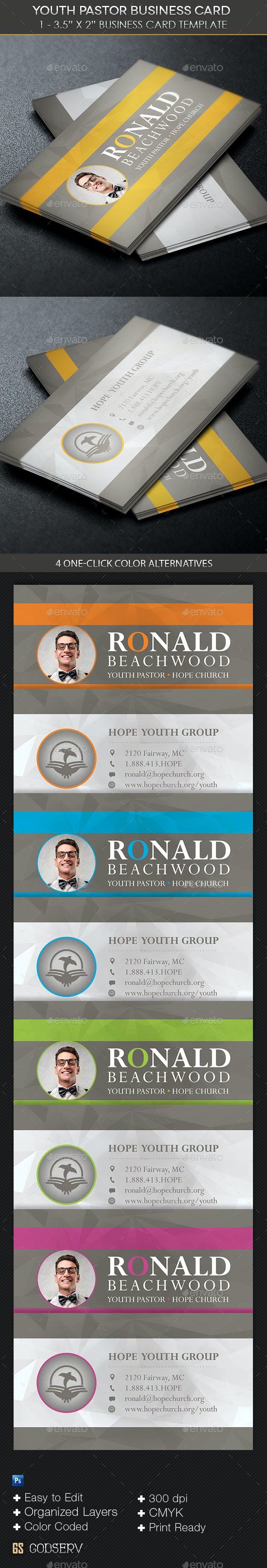 Youth Pastor Business Card Template - Industry Specific Business Cards