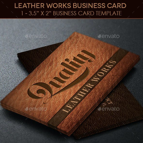 Leather Works Business Card Template