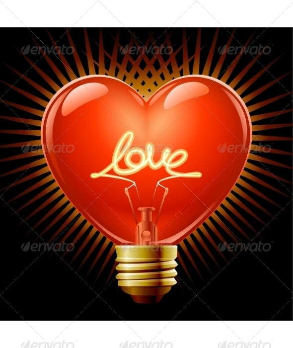 Light bulb in the Shape of heart - Valentines Seasons/Holidays