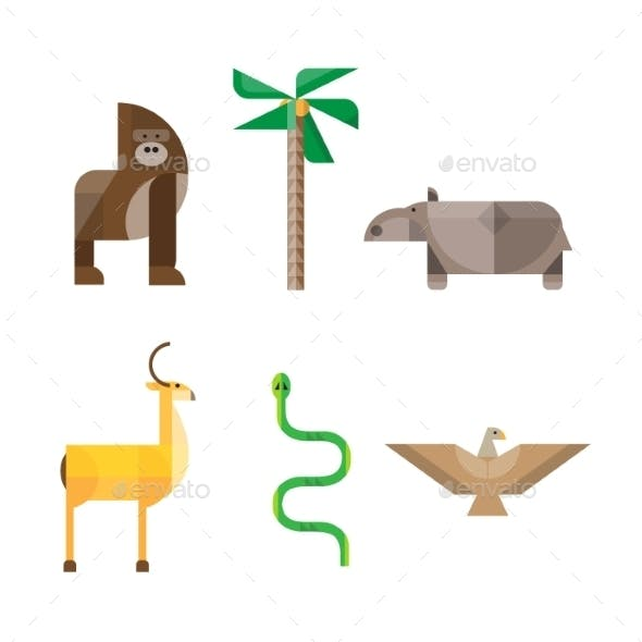 Flat African Animals and Plants. Geometric Style
