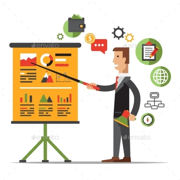 Businessman Gives a Presentation or Seminar. - Business Conceptual