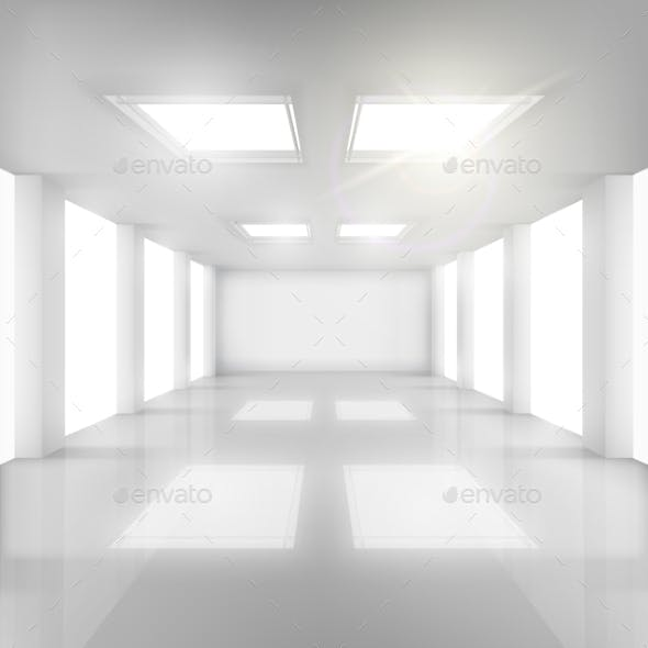 White Room with Windows in Walls and Ceiling.