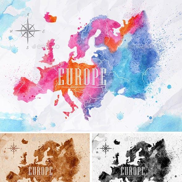 Watercolor Map Europe