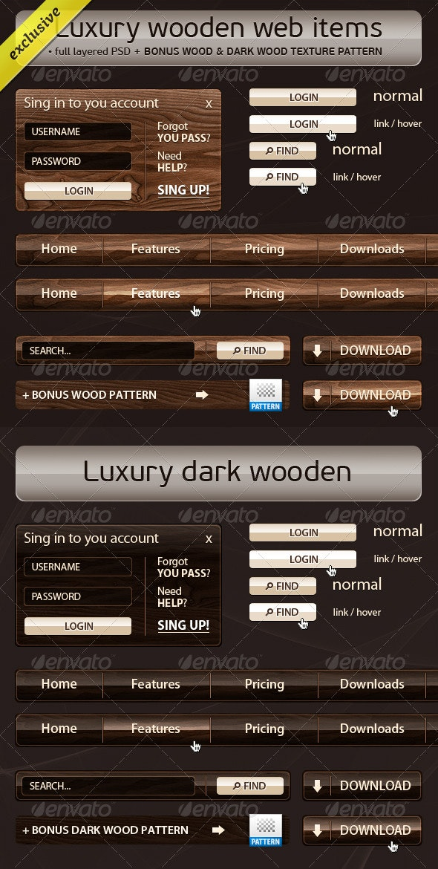 Luxury Wooden Web Elements + Free Bonus Patterns - Web Elements