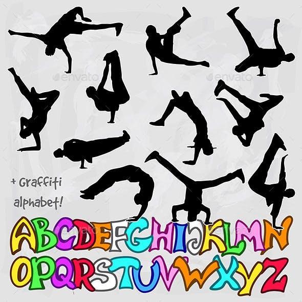 Break Dancer Silhouettes and Graffiti Alphabet
