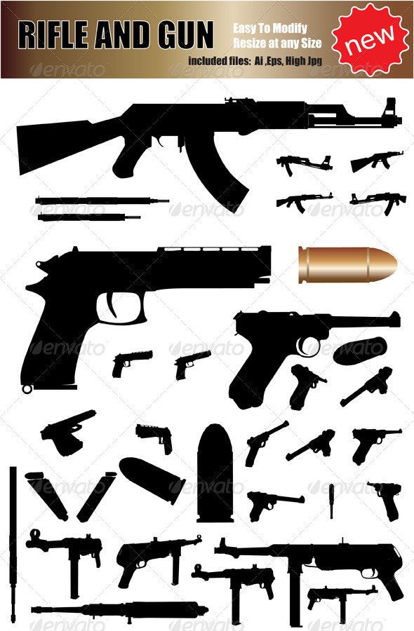 Vector Weapon Silhouette Set - Man-made Objects Objects