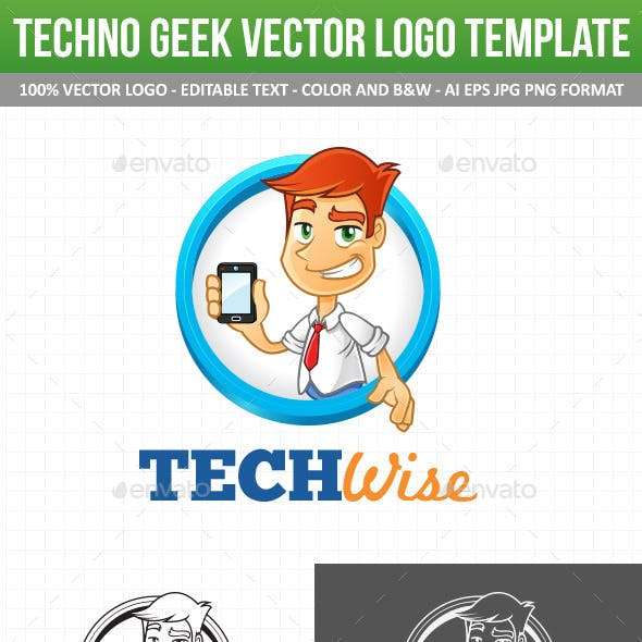 Tech Geek Vector Logo Template & Mascot