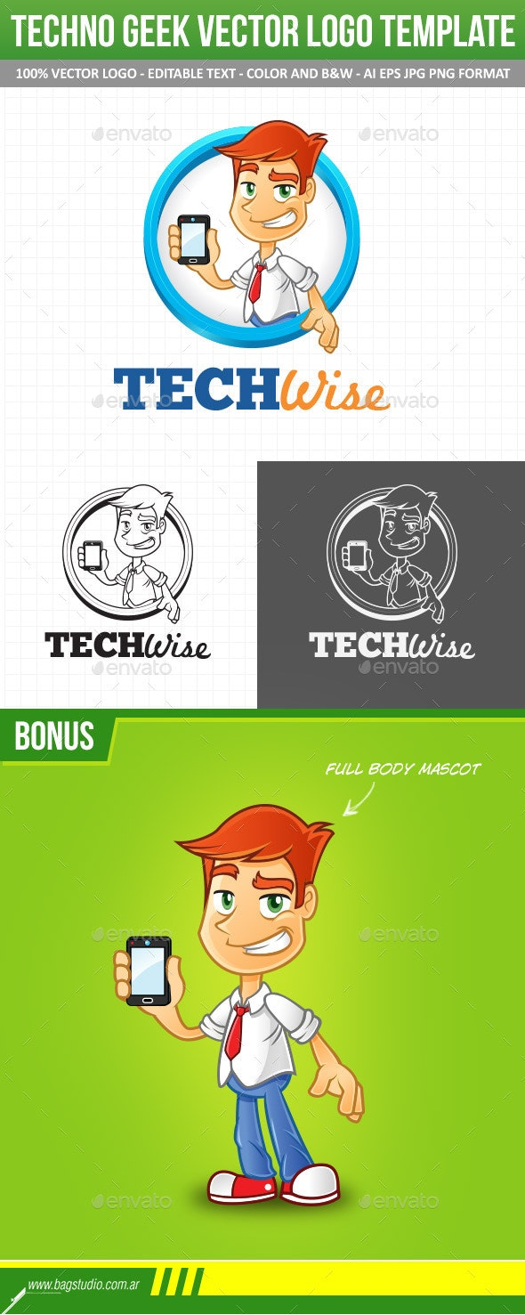 Tech Geek Vector Logo Template & Mascot - Humans Logo Templates