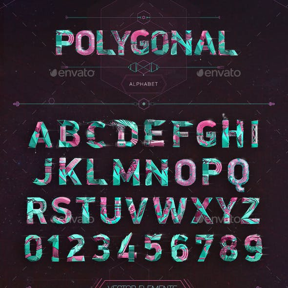 Polygonal Alphabet Typeface + Elements Pack
