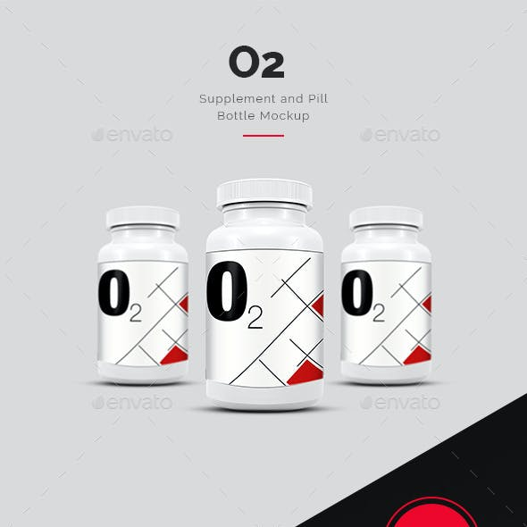 O2 Supplement and Pill Bottle Mock Up