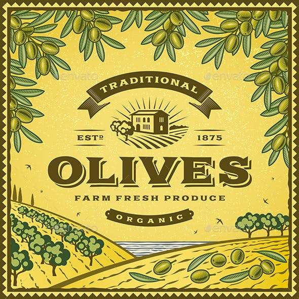 Vintage Olives Label