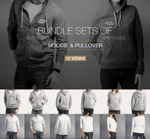 Hoodie / Pullover Bundle Mock up - Miscellaneous Apparel