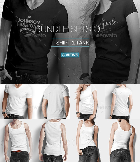 T-shirt / Tank Shirt Bundle Mock Up - T-shirts Apparel