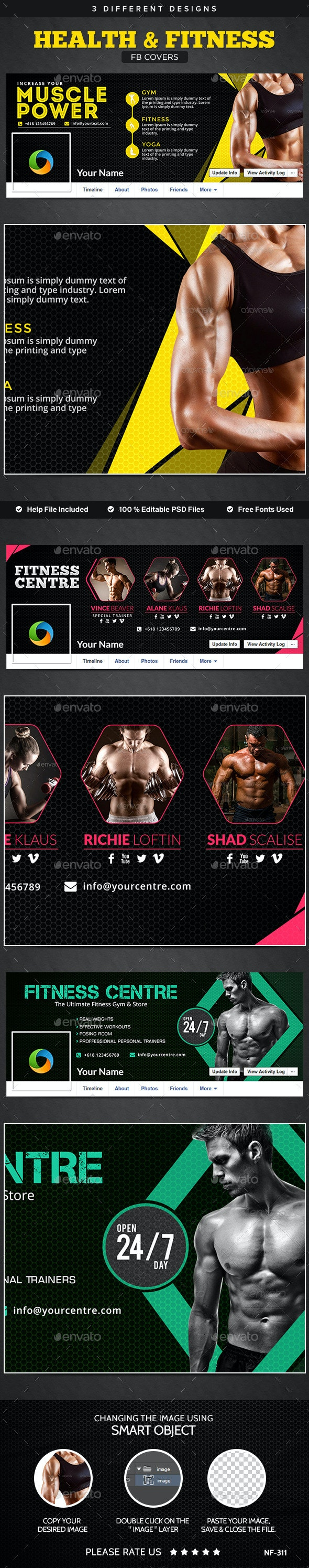 Health & Fitness Facebook Covers - 3 Designs - Facebook Timeline Covers Social Media