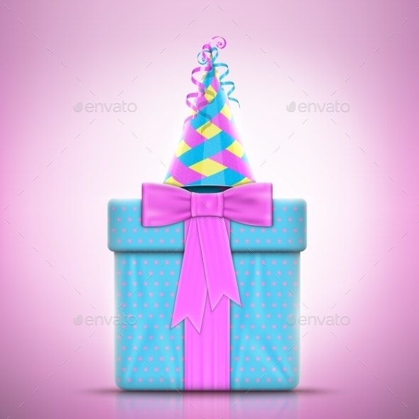 Holiday Design With Gift and Party Hat. - Birthdays Seasons/Holidays