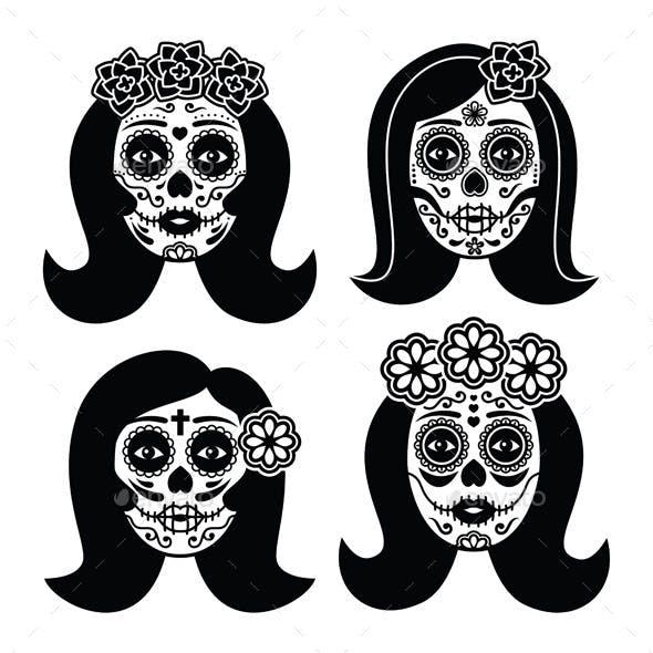 Mexican La Catrina Day of the Dead Girl Skull