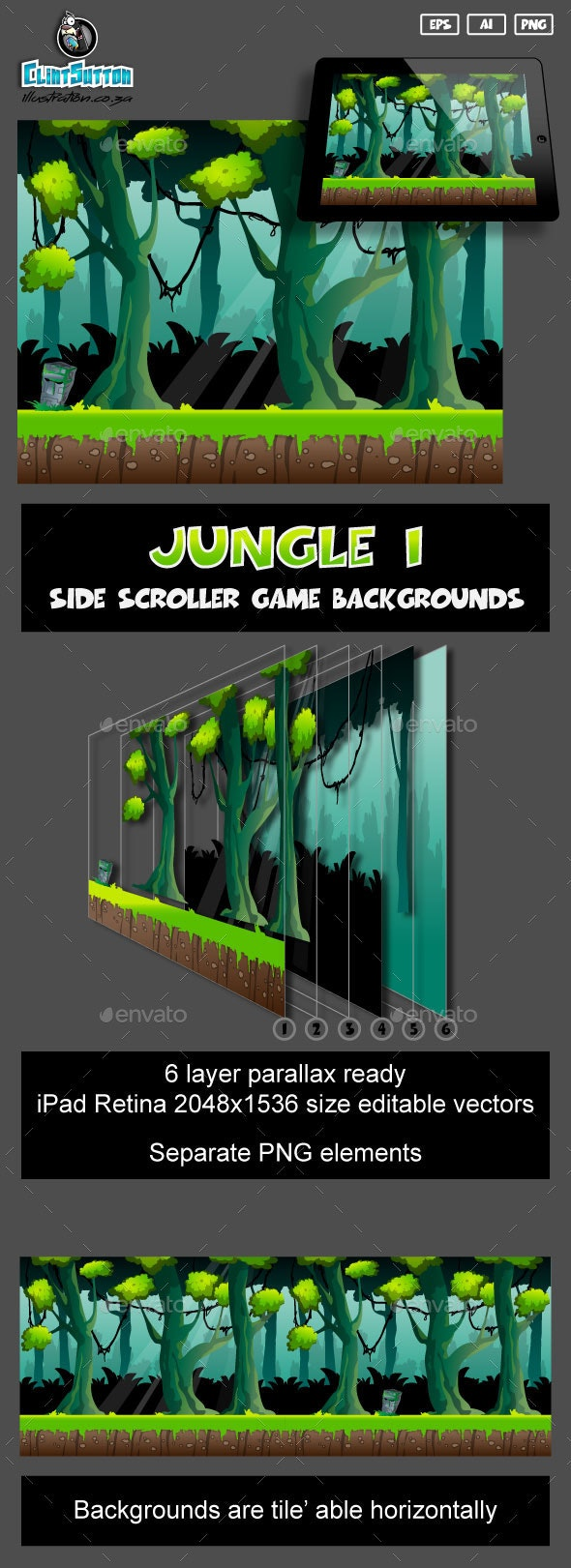 Jungle1 game background - Backgrounds Game Assets