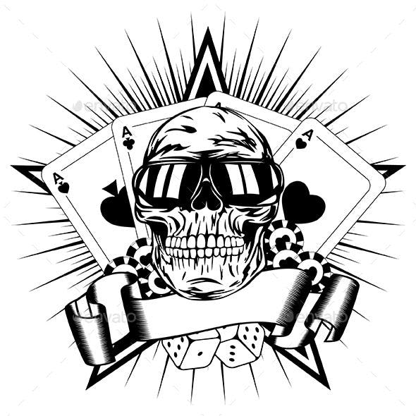 Skull in Sunglasses with Playing Cards and Dice