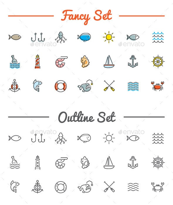 Great 21+21 Vector Sea/Food Icons Set - Icons