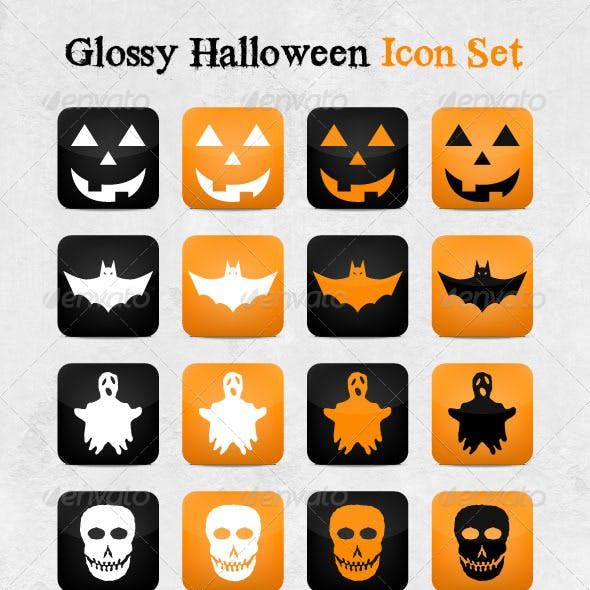 Glossy Halloween Icon Set