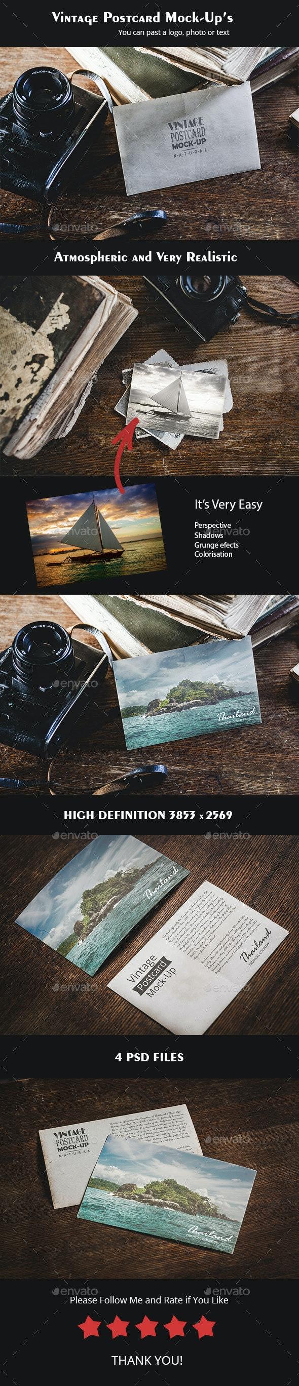 4 Vintage Postcard Mock-up - Miscellaneous Print