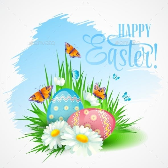 Easter Greeting Card with Daisies and Eggs