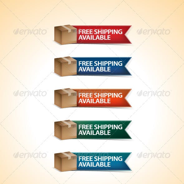 Free Shipping Vector Ribbons