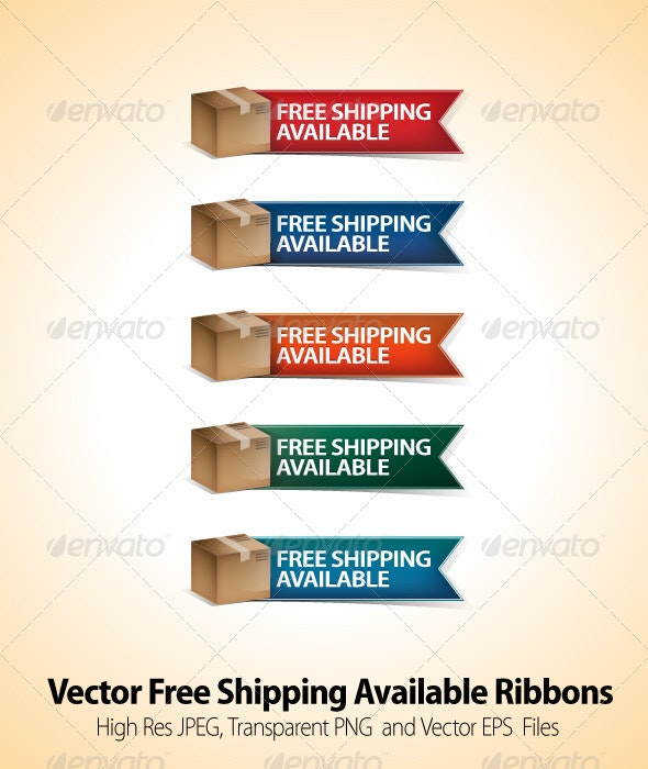 Free Shipping Vector Ribbons - Man-made Objects Objects
