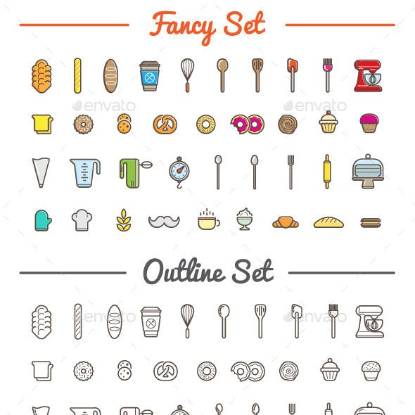 Great 37+37 Vector Bakery/Pastry Icons Set