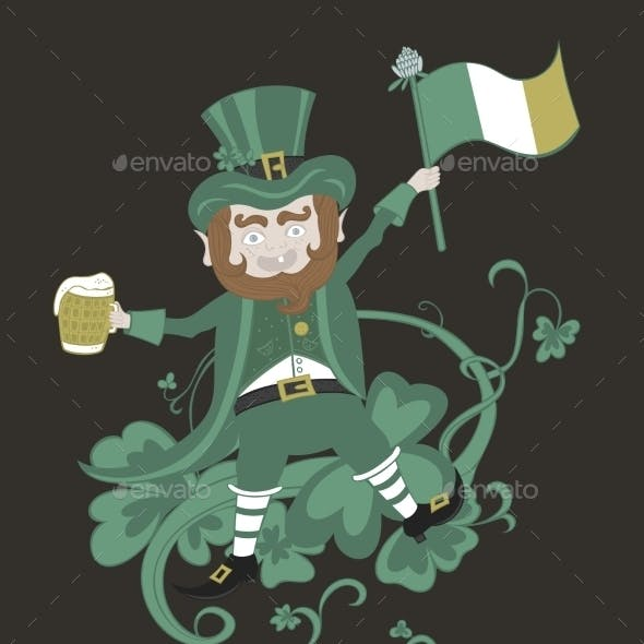 Leprechaun with Flag Holding a Mug of Beer