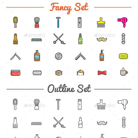 Great 24+24 Vector Barber Shop Icons Set